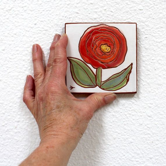 red flower hand painted ceramic art tile