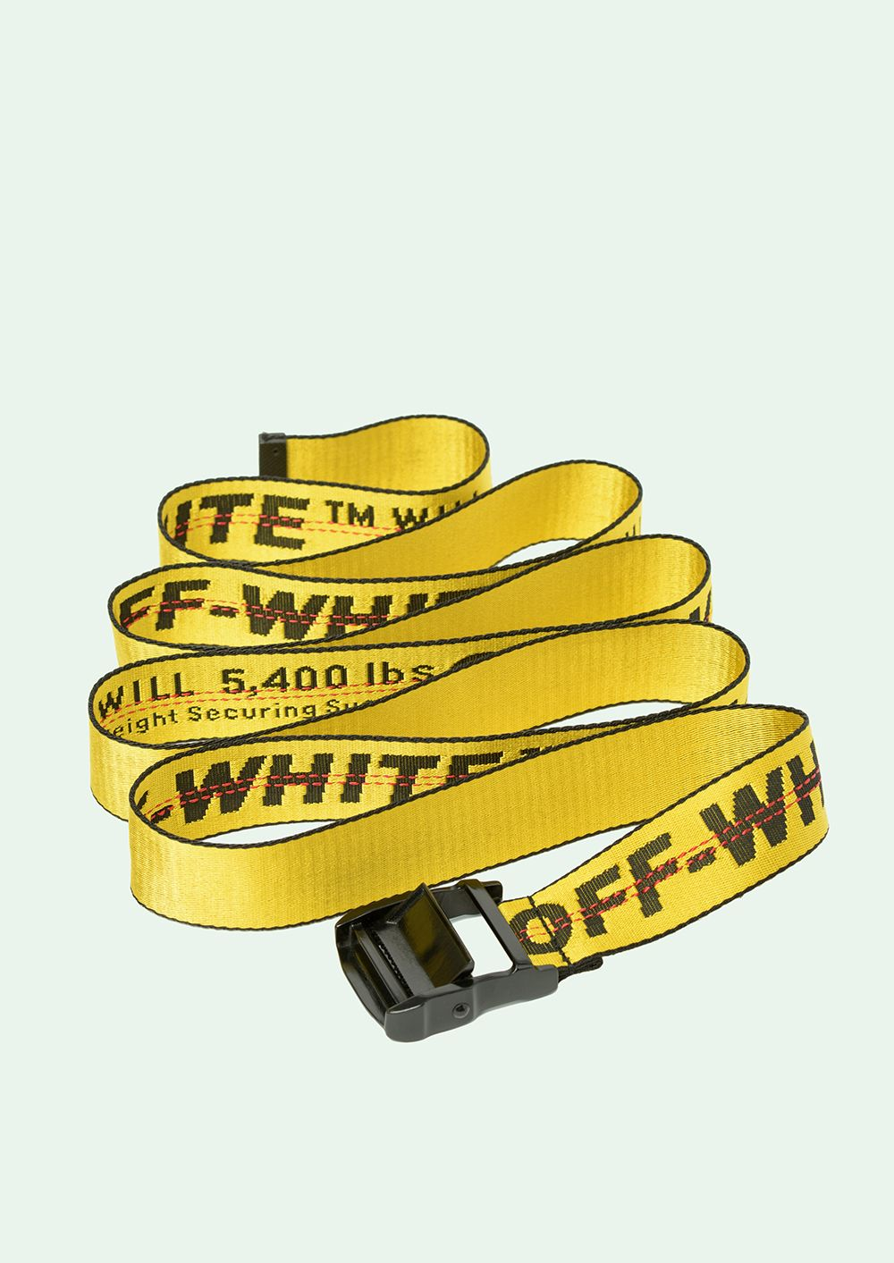 Yellow Industrial belt with black buckle.   Length: 200 cm   Height: 3,5 cm