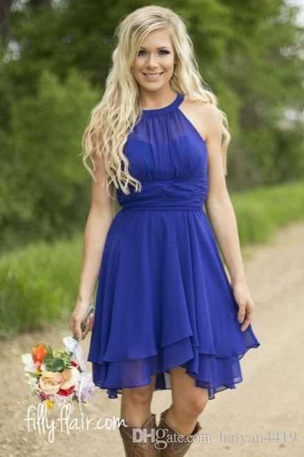 2016 royal blue country bridesmaid dresses short 2015 for Plus size country western wedding dresses