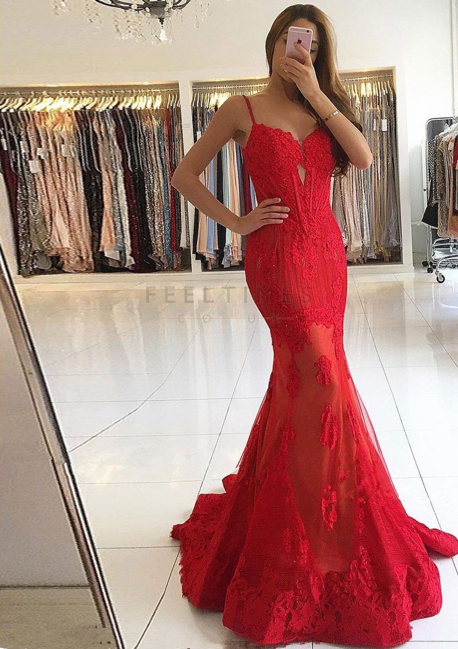 Lace mermaid sleeveless sweep train prom dress feeltimes promdress