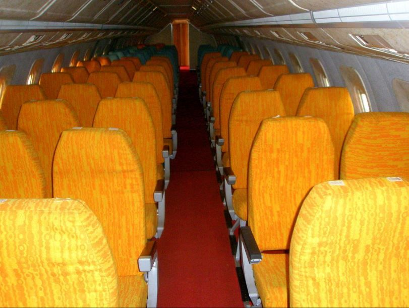 Economy cabin of the Tupolev Tu144 - you can see it had 5-abreat seating whereas the narrower western equivalent, the Concorde, had a very tight 4-abreast configuration