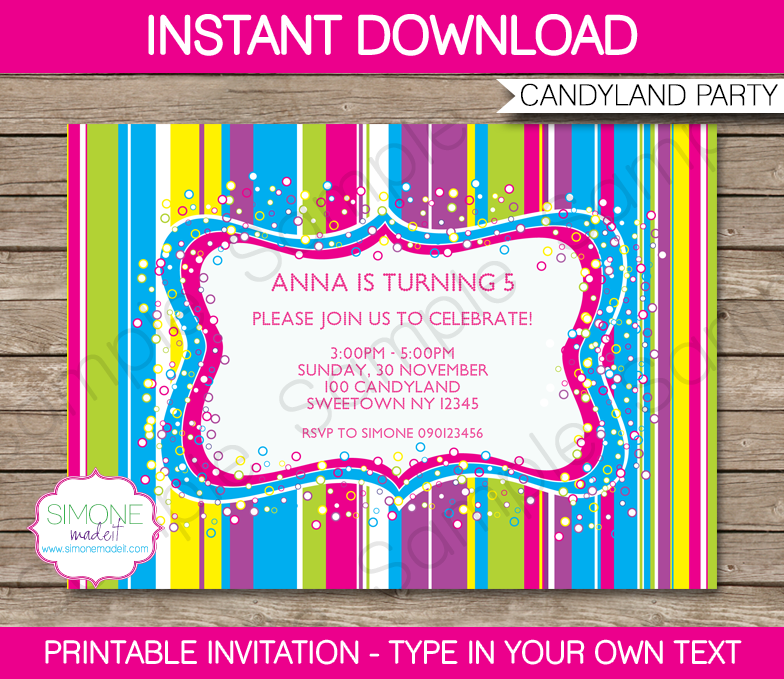 Candyland Party Printables, Invitations & Decorations | Candyland ...