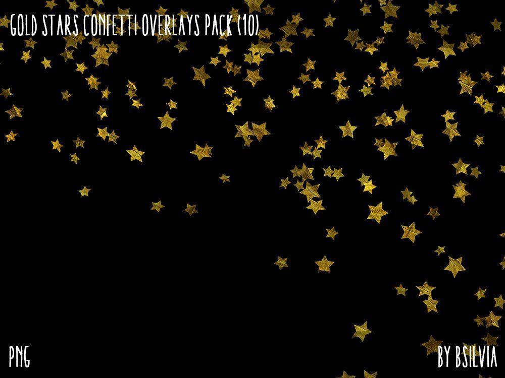 Gold Stars Confetti Overlays Digital Gold Confetti Photo