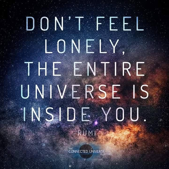 Don T Feel Lonely The Entire Universe Is Inside Of You Rumi And Thus We Are All Connected Pakikipagkapwa Rumi Love Quotes Rumi Quotes Spiritual Quotes