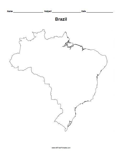 image regarding Free Printable Map of Africa called Totally free Printable Brazil Define Map For the minor person Map