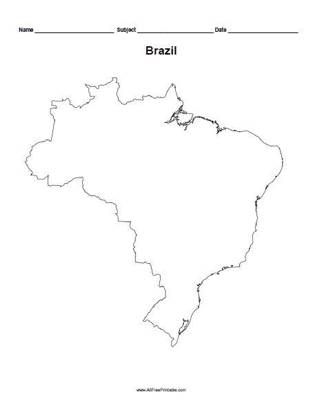 Free Printable Brazil Outline Map | For the little guy | Pinterest