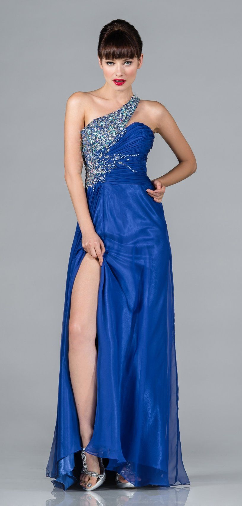 Rhinestone shoulder strap royal blue dress long chiffon elegant gown