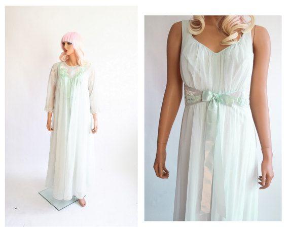 a95fc8dad43 1950s Lingerie 50s Peignoir Set Mint Green Chiffon Nightie Dress 60s  Babydoll Neglige 1960s Shadowline Nightgown + Bed Jacket Robe Medium