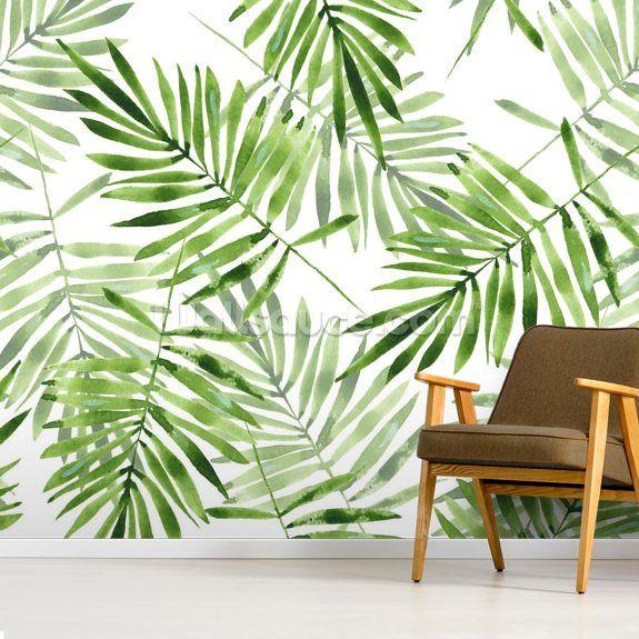Living Room Accent Wall Tropical Palm Art: Palm Wallpaper, Wall Wallpaper