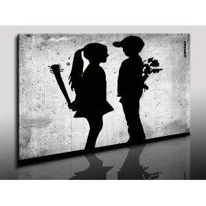 Banksy Druck Auf Leinwand Wandbild 100x70cm K Poster Bild