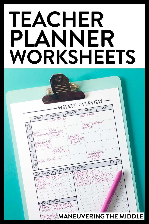 Free Teacher Planner Worksheets