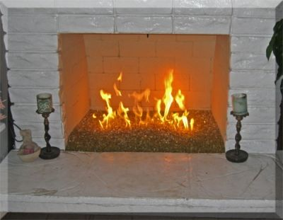 Fireplace With Logs Removed And Fire Glass Installed Glass Fireplace Indoor Gas Fireplace Fire Glass Fireplace