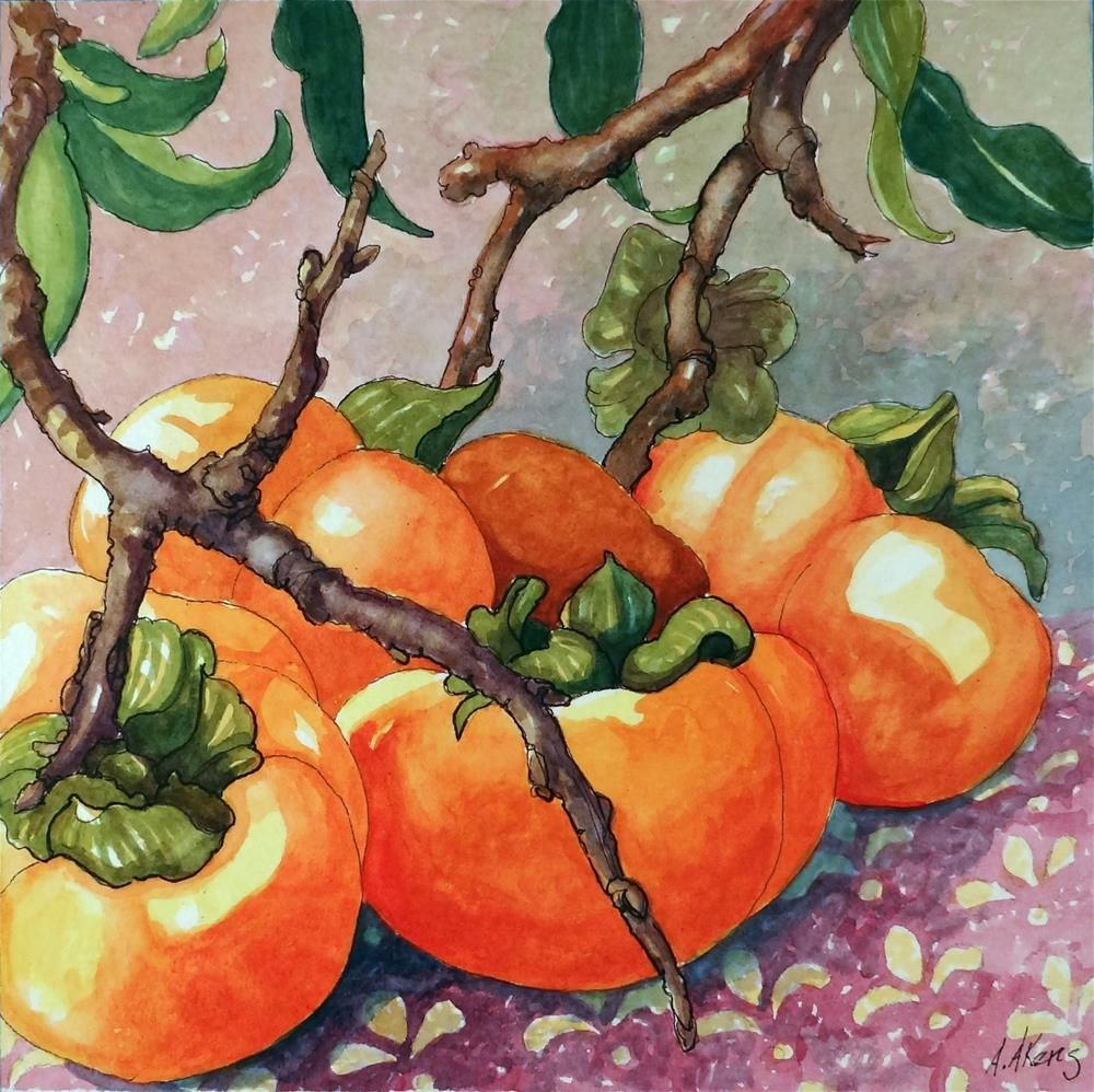 Safe After the Frost Persimmon Watercolor painting original fine art by Alida Akers