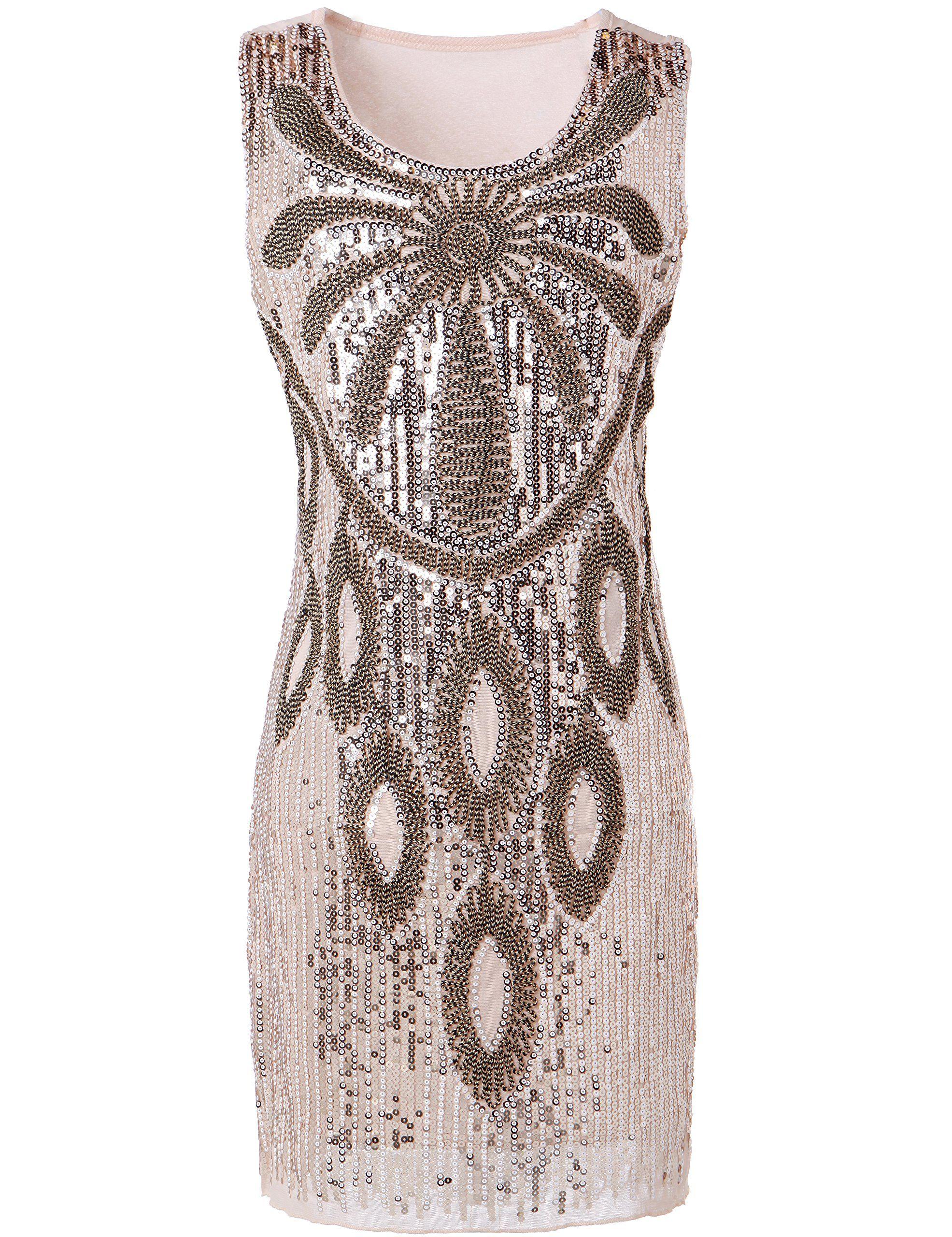 PrettyGuide Women 20s Art Deco Sequin Beaded Maxi Flower Charleston ...
