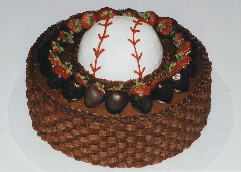 Baseball Grooms Cake Baseball shaped with 12 Wilton ball pan
