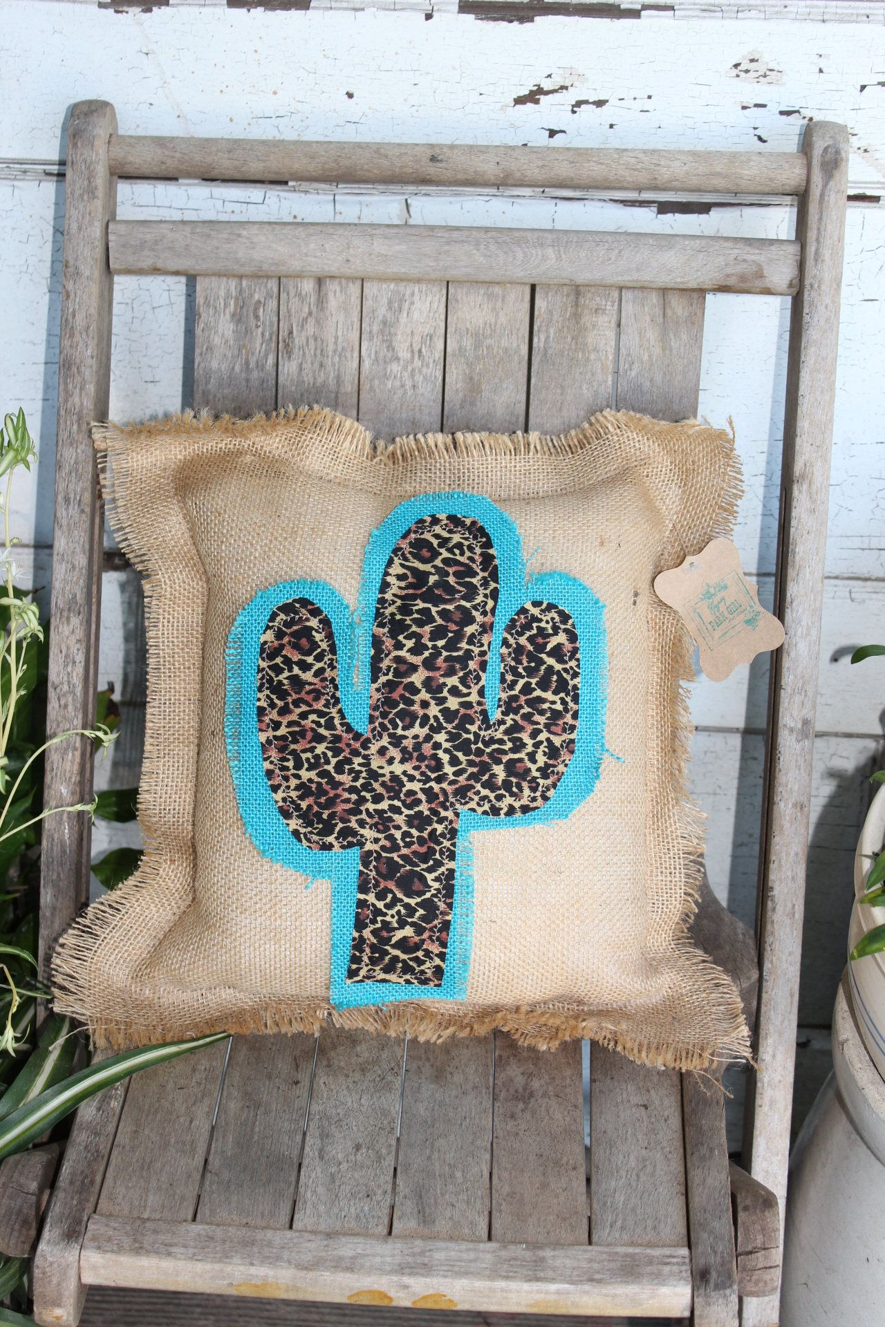 Turquoise & Leopard Cactus Pillow, burlap pillow with cactus, accent pillow, throw pillow, animal print, wanderlust, turquoise cactus