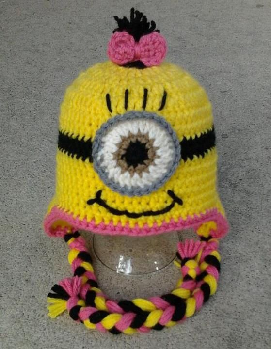 Pink Girl Minion Character Hat Earflap or Beanie (child size) via ...