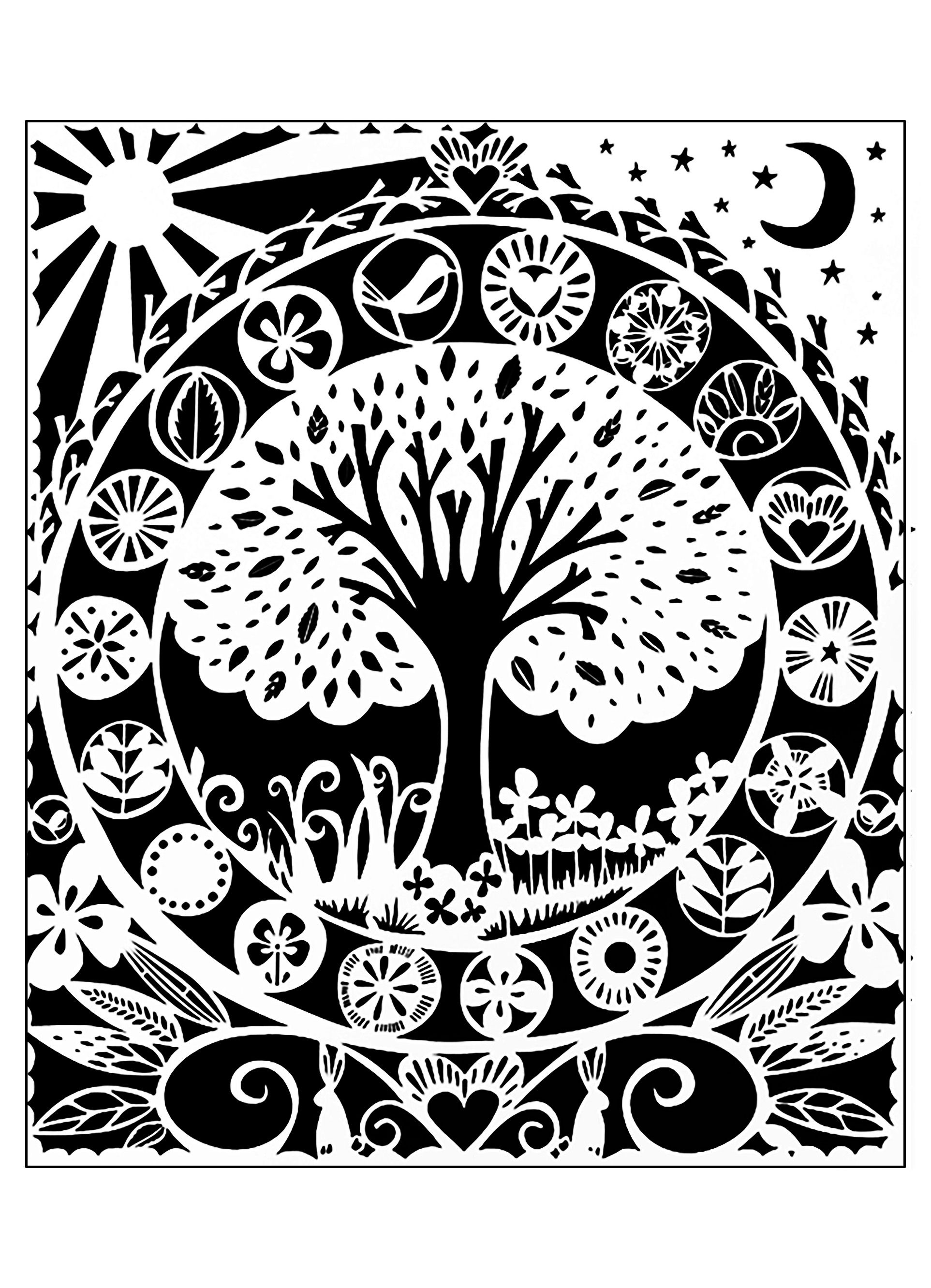 Coloring pictures of flowers and trees - Beautiful Tree To Color White Version From The Gallery Flowers And Vegetation
