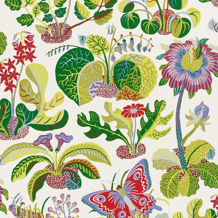 Josef Frank Wallpaper - Schumacher Butterfly Mutli-Color American Modern Paper