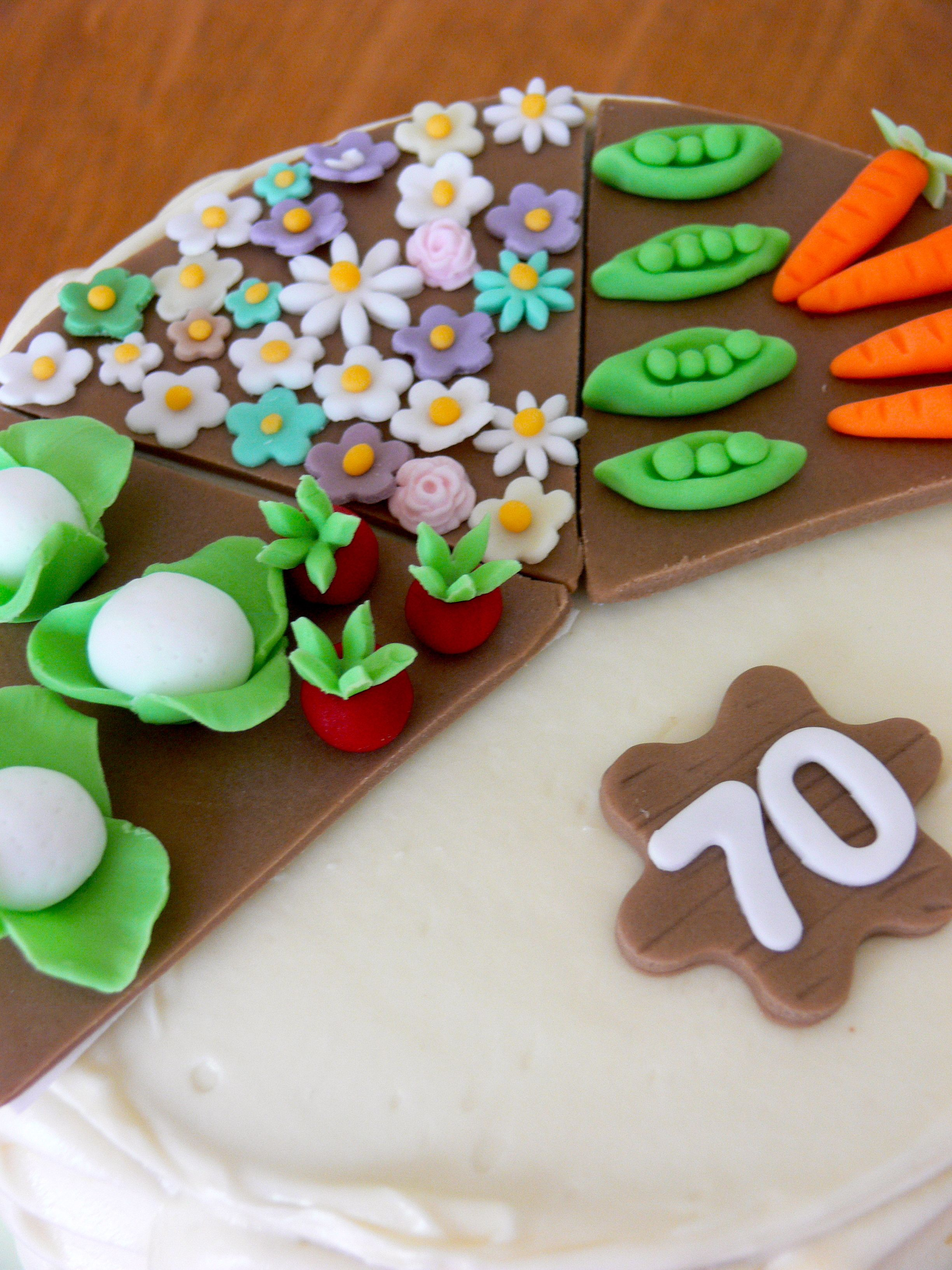 Vegetable and flower patch cake toppers