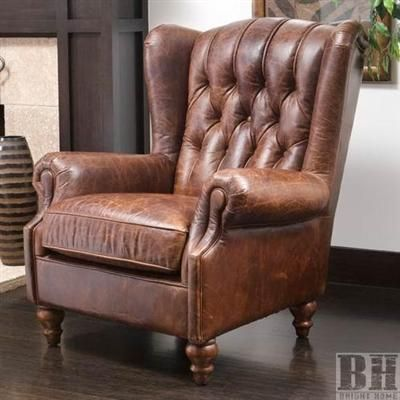 BrightHomeHaifaTuftedVintageLeatherWingBackClubChair