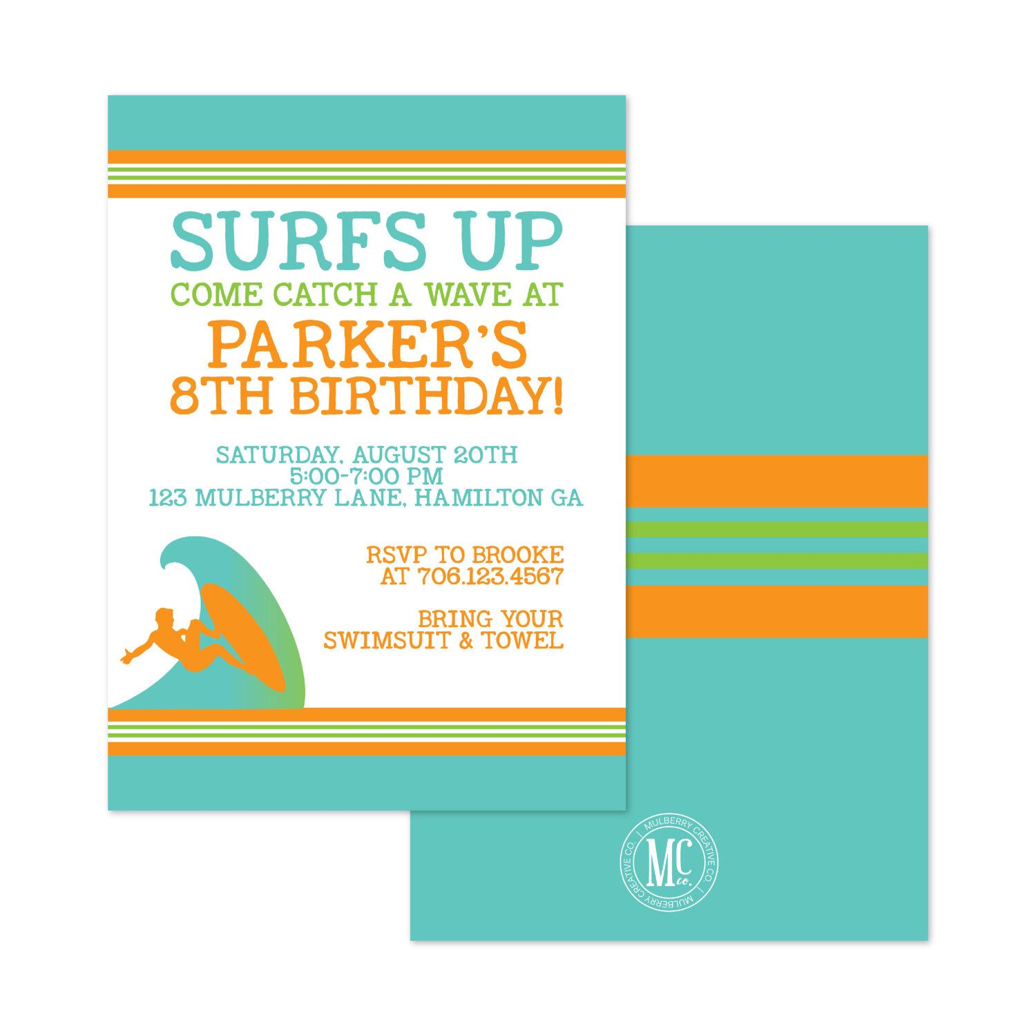 Surfs Up Birthday Invitation - Teen - Tween Invitation- Boy ...