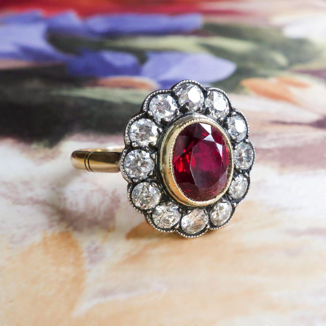 Antique ruby diamond halo ring ct tw old european cut diamond