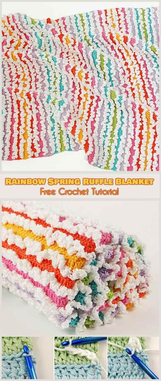 Rainbow \'Spring\' Ruffle Blanket Free Pattern and Tutorial | Crochet ...