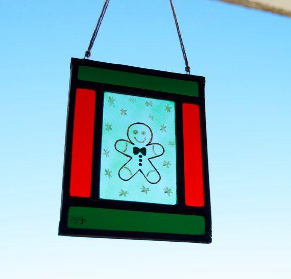 Navidad vidriera emplomada  Galleta hombre por TuulaGiraldoArtGlass