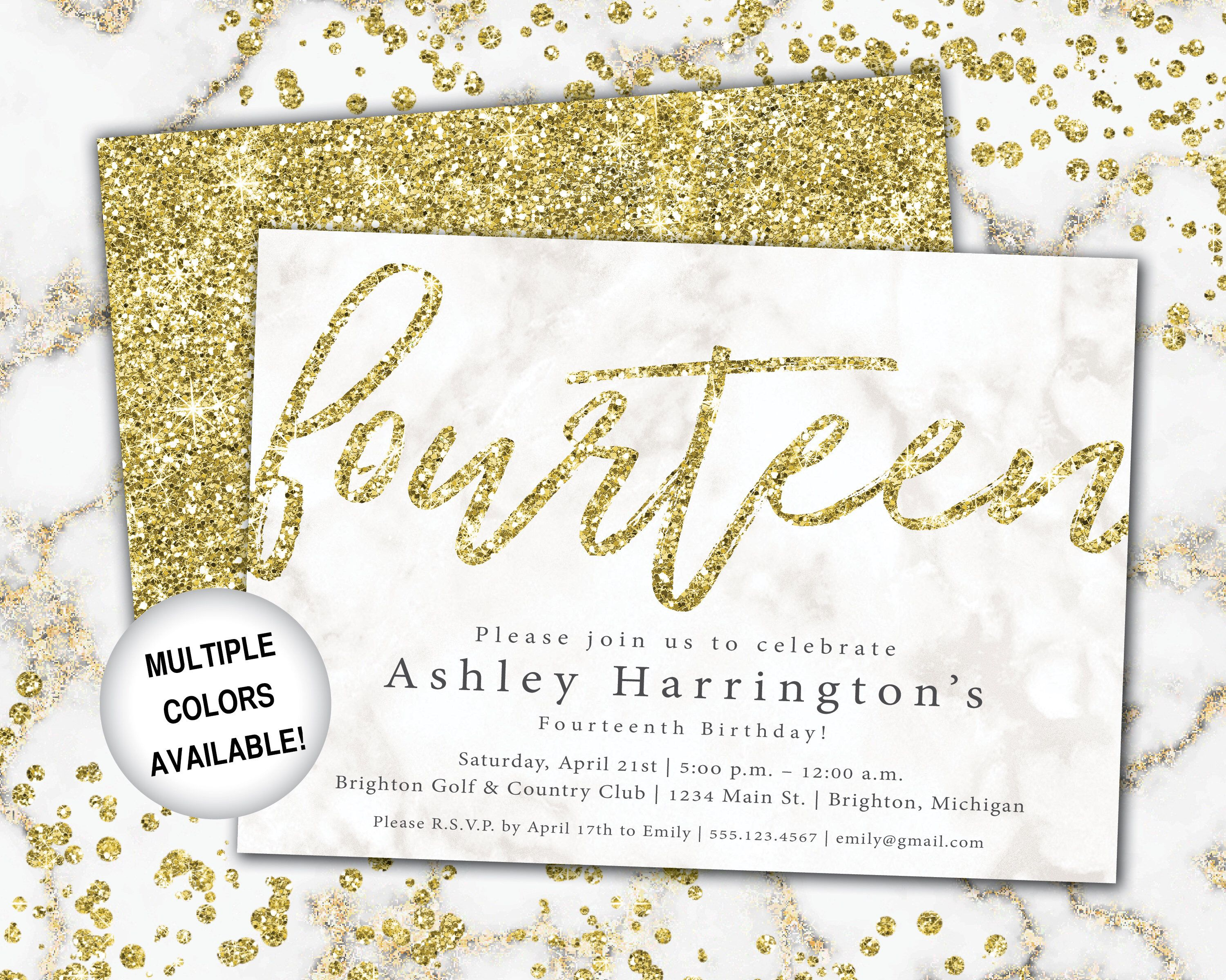 3th Birthday Invitation Gold Glitter Fourteenth Birthday  Etsy