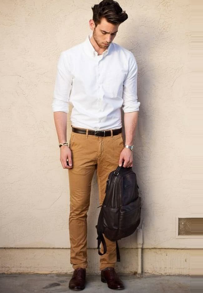 2f84d210dc5 White Shirt With Brown Chinos Combination For Semi Formal Look ...