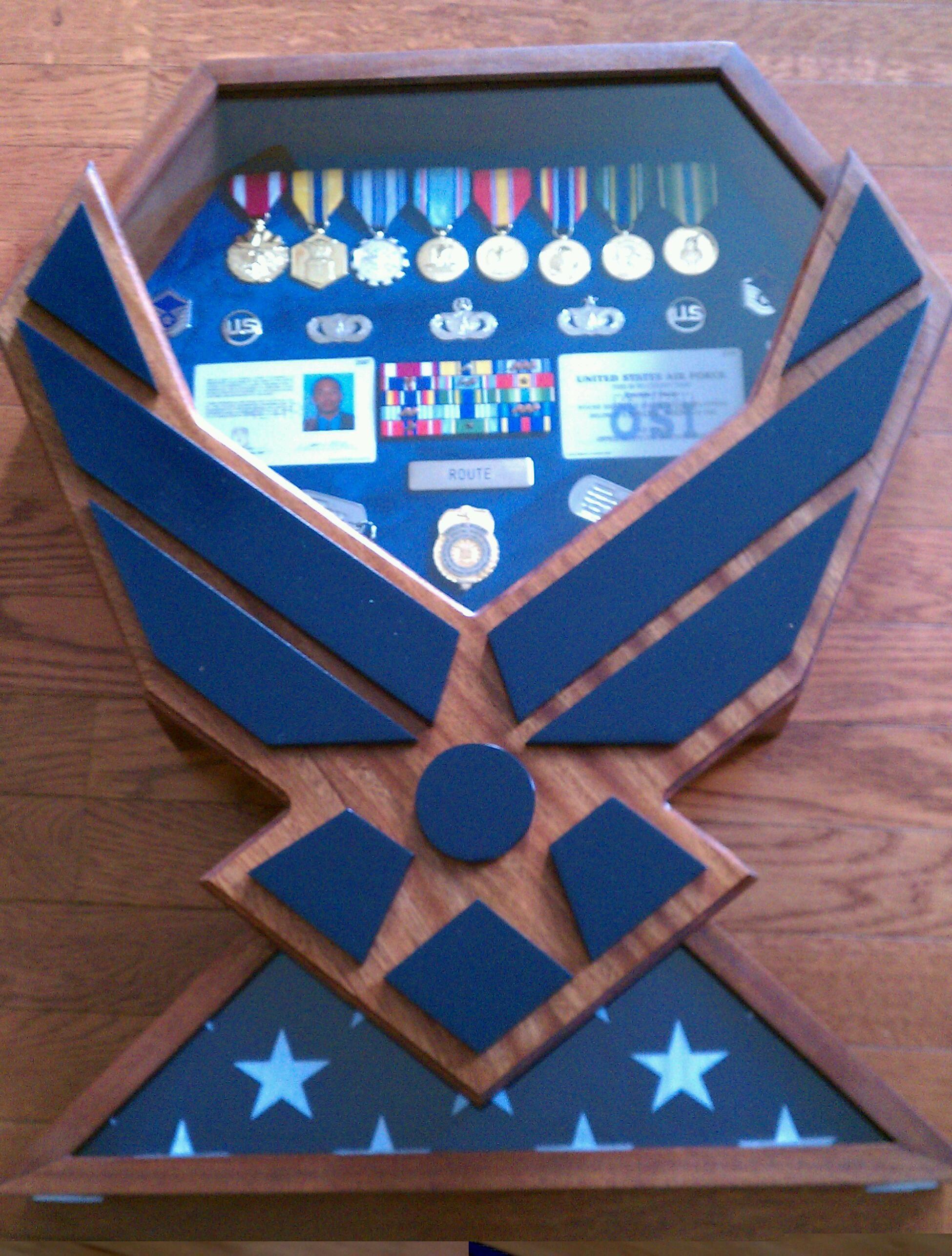 Air Force Symbol/Flag bottom shadowbox