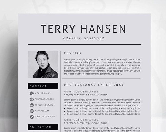 Resume Template   CV Template With Cover Letter for MS Word - cover letter and resume templates for microsoft word