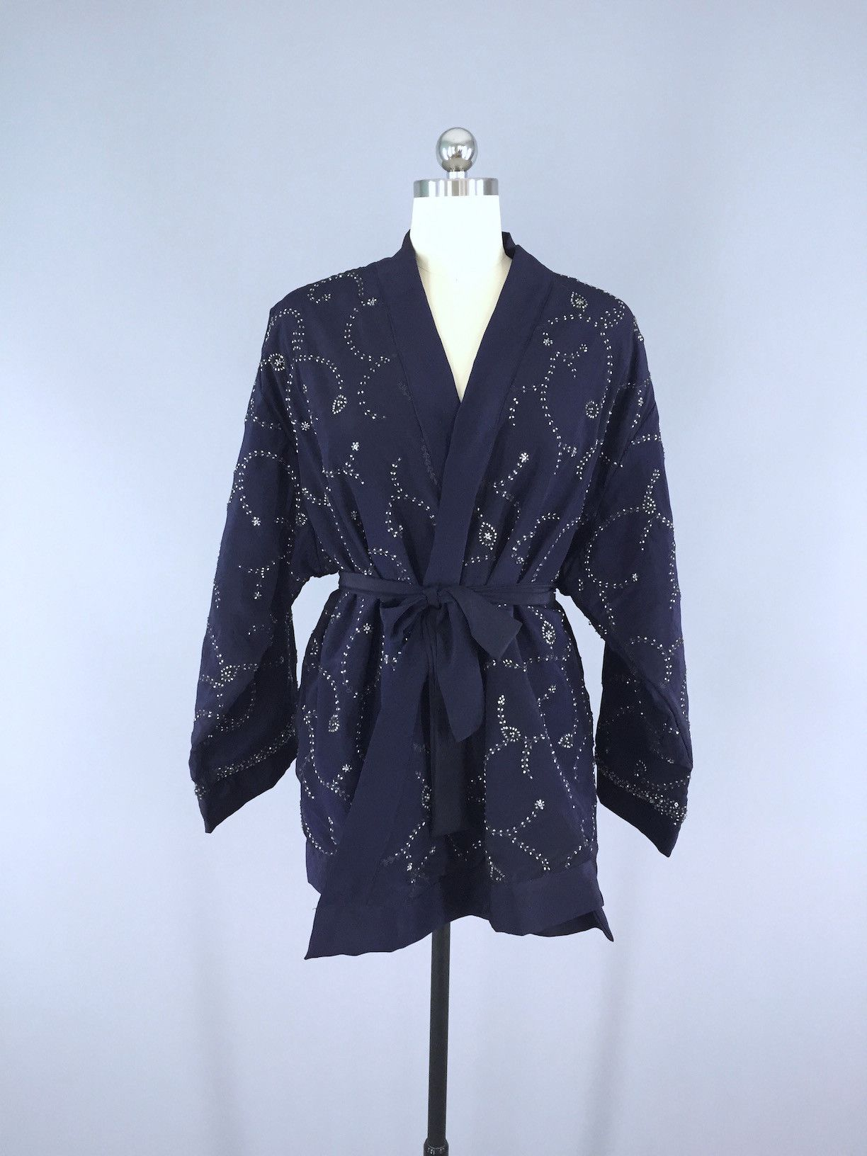 Silk Kimono Cardigan / Vintage Indian Sari / Belted Jacket / Navy ...