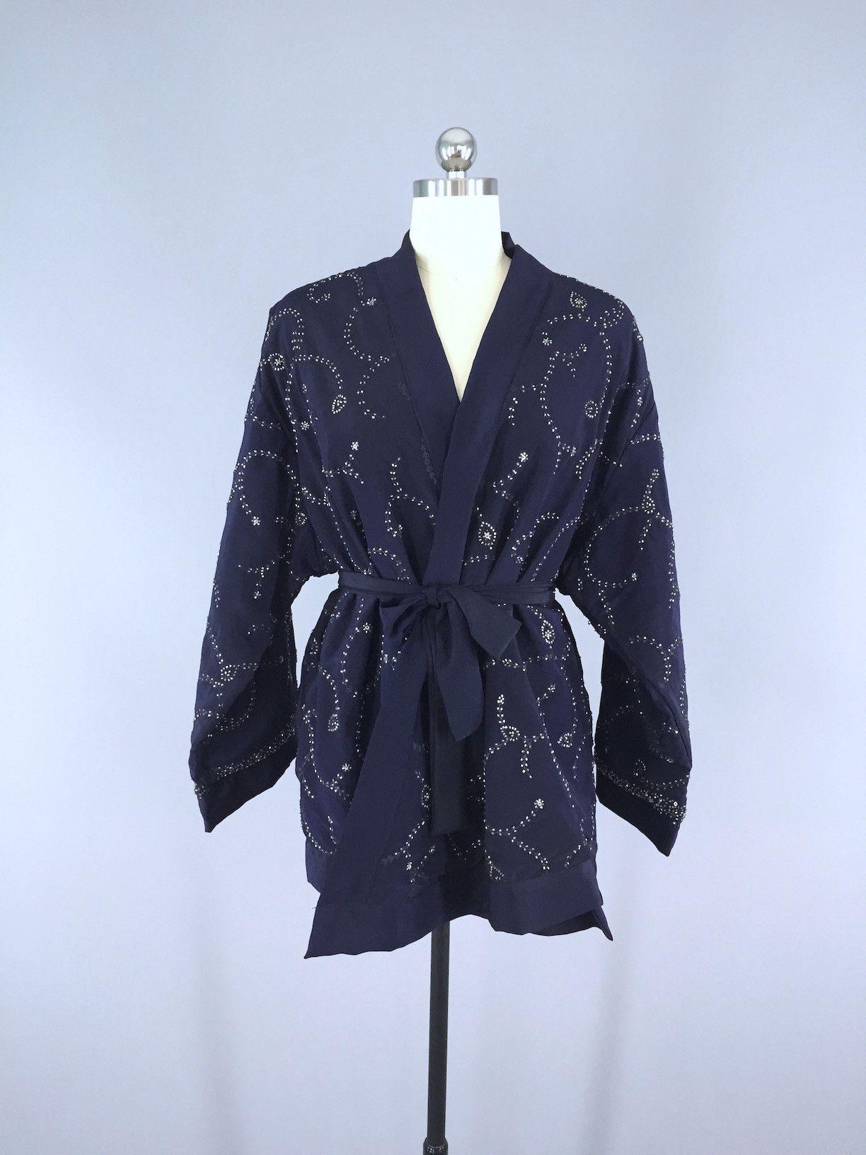 Silk Kimono Cardigan / Vintage Indian Sari / Belted Jacket / Navy ...