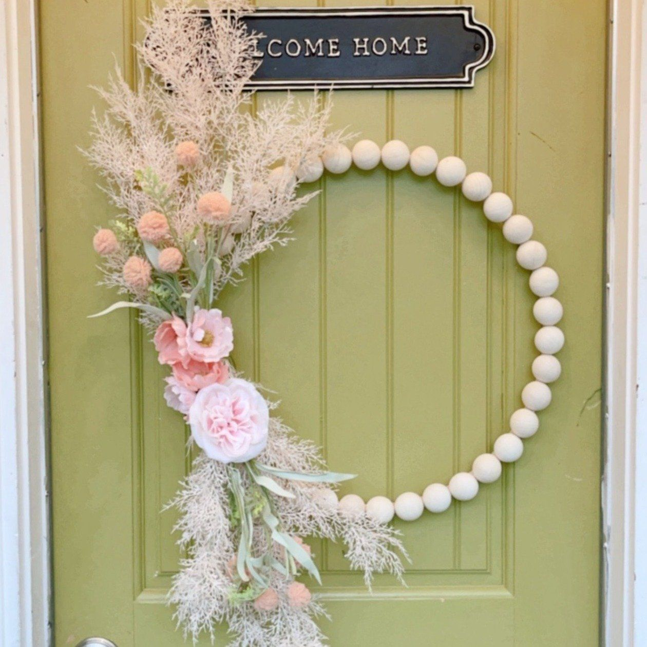 Claire - Wood Bead Flower Wreath/ Spring Peony Wre