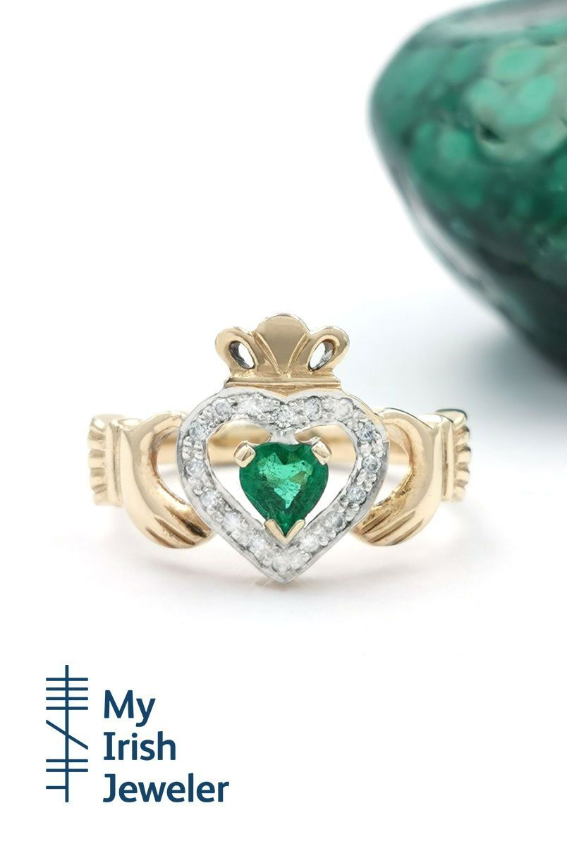 Gold emerald and diamond halo claddagh ring made in