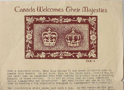Printed Sheet Promoting A Pattern Designed By Frank Garrett For The Royal Visit To Canada In May And June 1939 The S Rug Hooking Printed Sheets Pattern Design