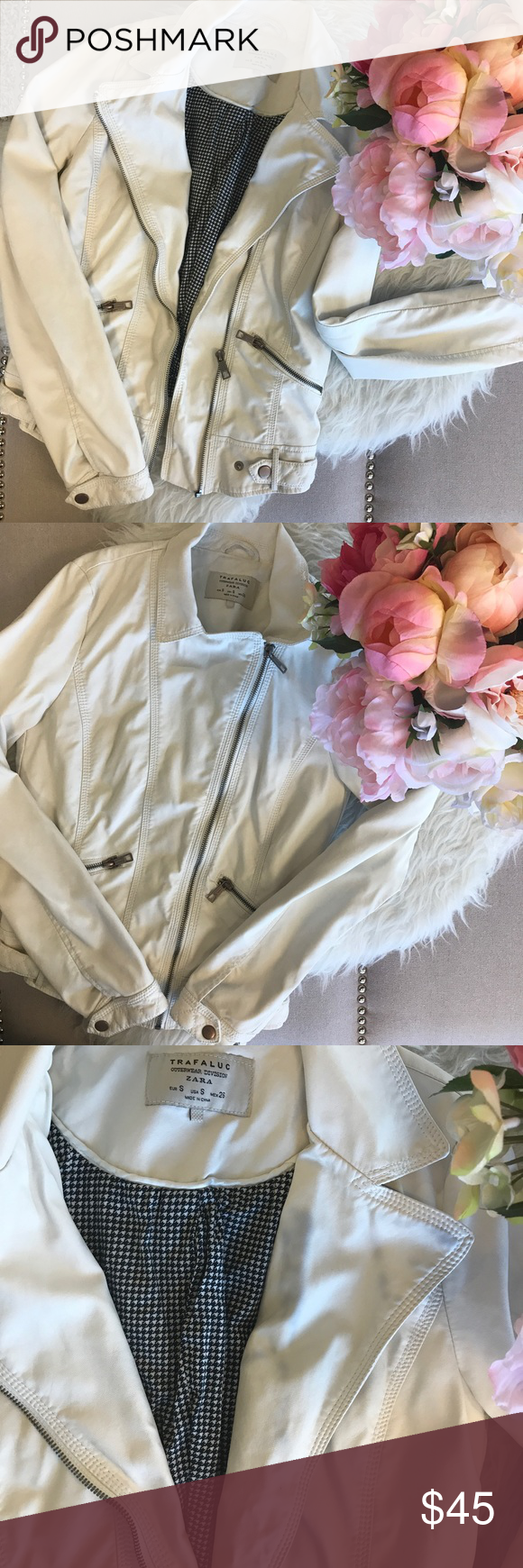 Zara Trafaluc white faux leather biker jacket White faux