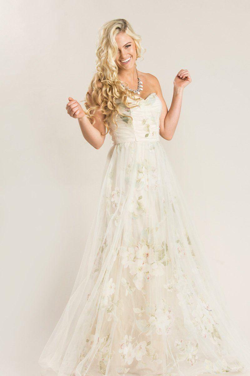 af5342ceb3 Shop the Ellen Beige Floral Tulle Maxi Dress - boutique clothing featuring  fresh