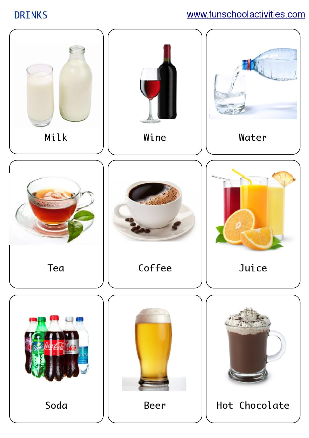Printable Drinks flashcards
