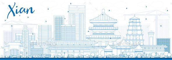 Outline xian skyline with blue buildings vector illustration business travel and tourism concept historic architecture also rh pinterest