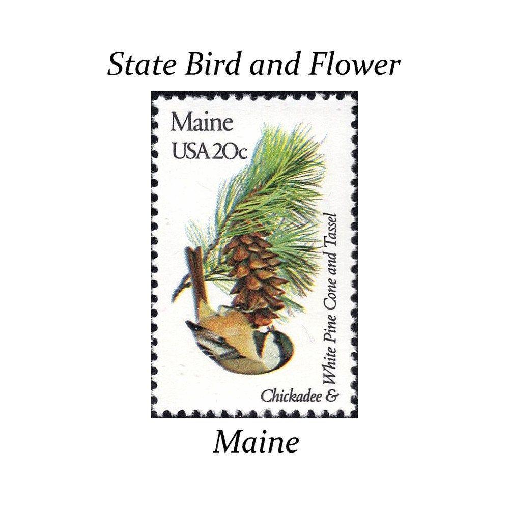 Five 20c maine state bird and flower stamp vintage unused