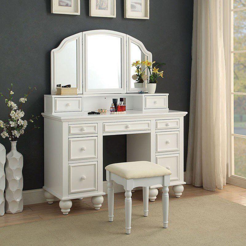 Athy Vanity w/ Stool (White) in 2018 vanities Pinterest Vanity