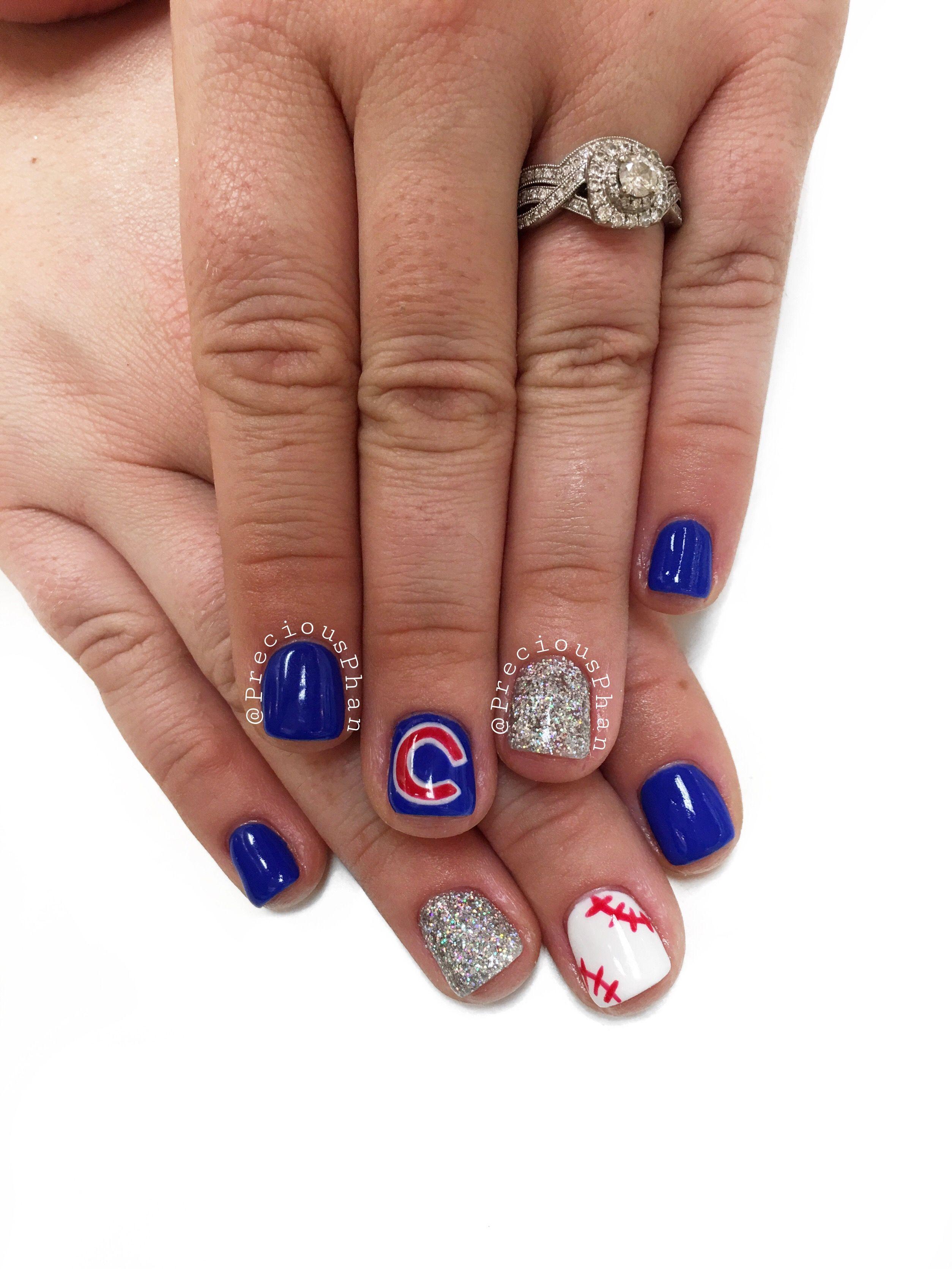 Chicago. Cubs. Baseball Nails. #preciousphan Pretty