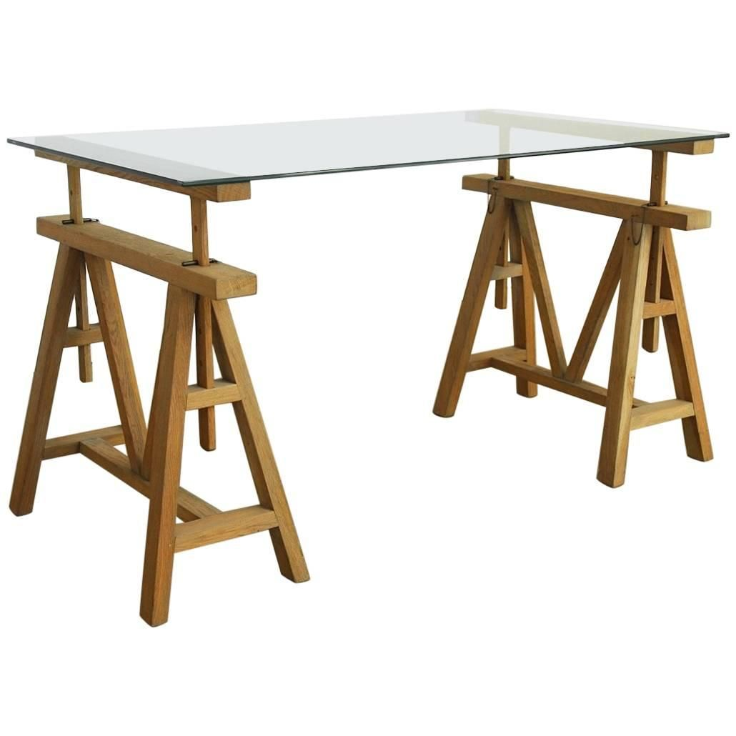Midcentury Adjustable Height French Oak Sawhorse Desk For Sale At 1stdibs Sawhorse Desk French Oak Sawhorse