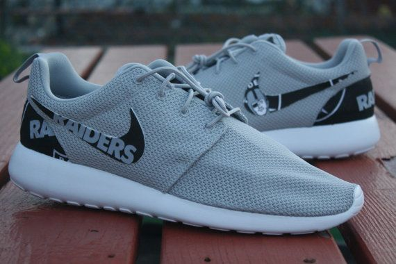 4beb21a3858e Oakland Raiders Football Nike Roshe Run by NYCustoms on Etsy Oakland  Raiders Shoes
