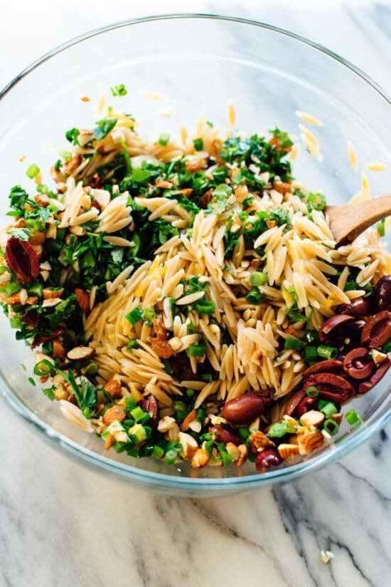 Orange Orzo Salad with Almonds, Feta and Olives images