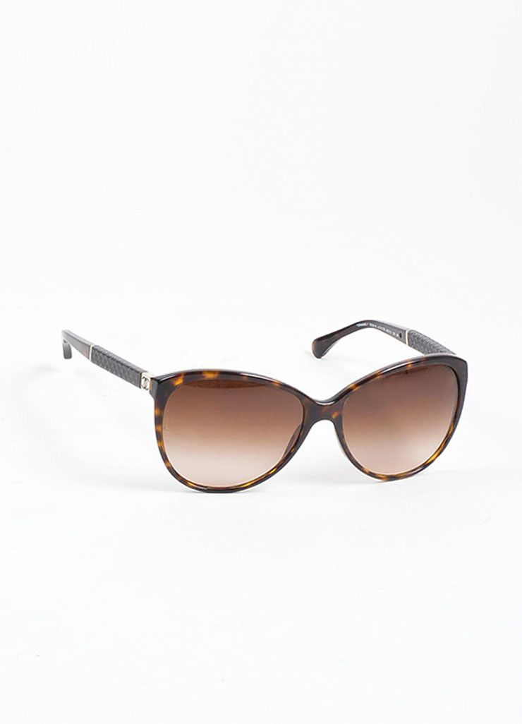 295c63f4629b Brown and Black Chanel Tortoise Quilted Arm 'CC' Cat Eye Oversized  Sunglasses