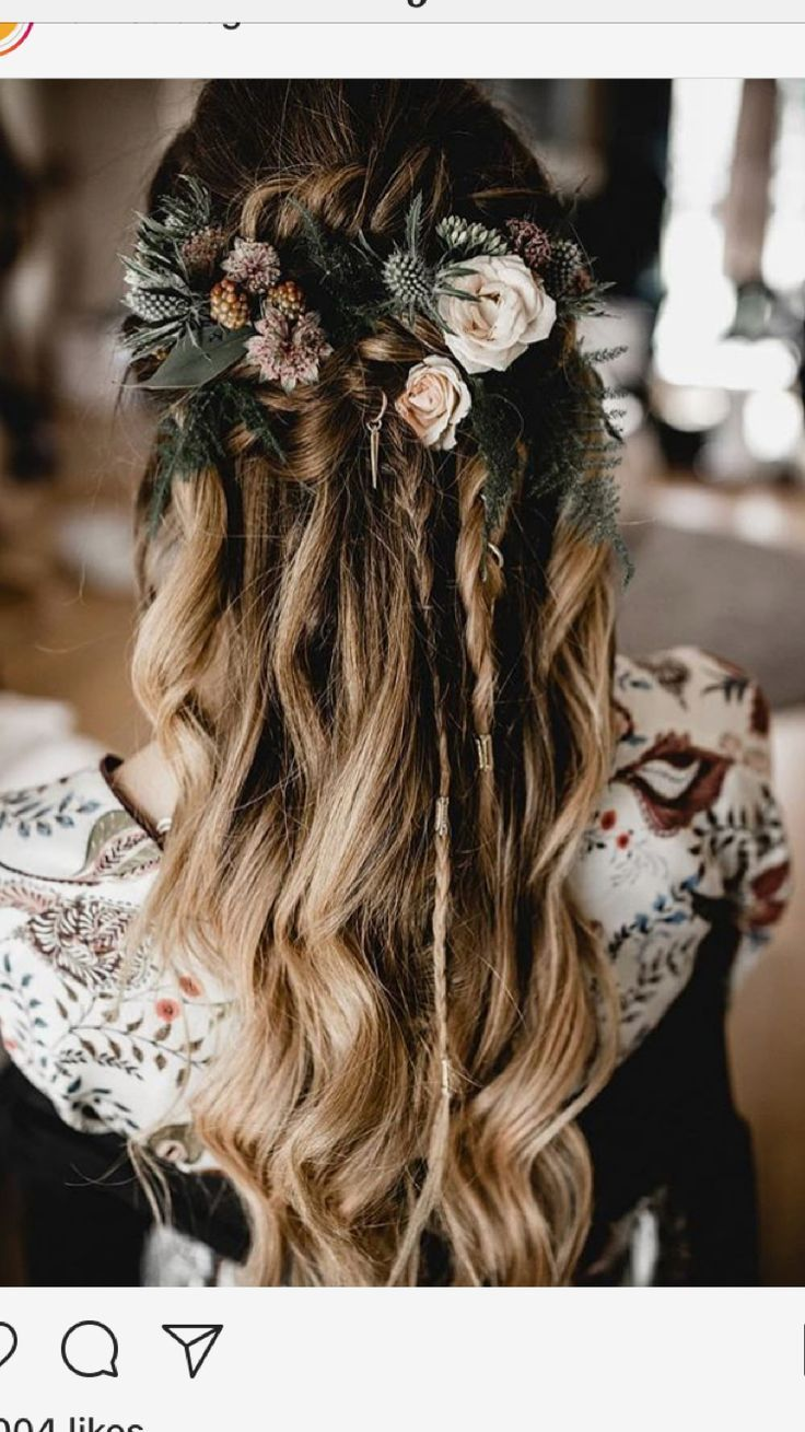 half up braids with flowers for bridesmaid hairstyle inspo